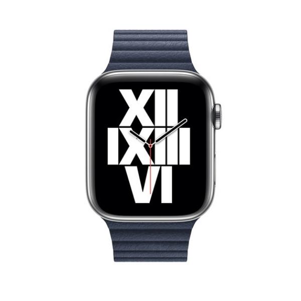 Curea Apple Watch cu prindere magnetica din piele albastra 42/44mm [2]