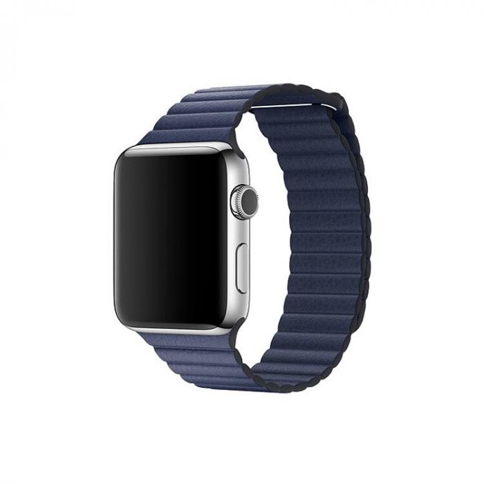 Curea Apple Watch cu prindere magnetica din piele albastra 42/44mm [4]