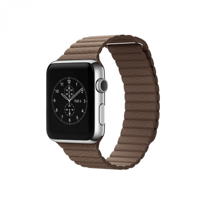 Curea Apple Watch cu prindere magnetica din piele maro 42/44mm [4]