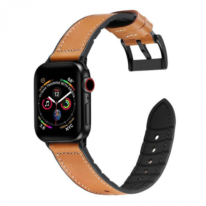 Curea Apple Watch Piele Maro si Silicon 42/44mm [2]