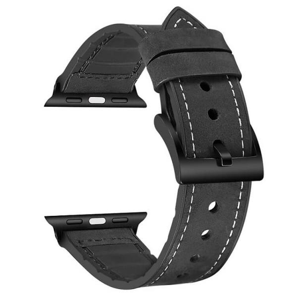 Curea Apple Watch Piele Neagra si Silicon 42/44mm [0]
