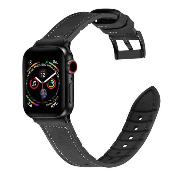 Curea Apple Watch Piele Neagra si Silicon 42/44mm [2]