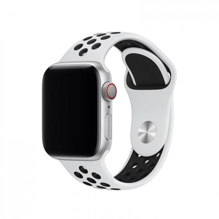 Curea Apple Watch Silicon Sport Alb/Negru cu perforatii 38/40mm [1]
