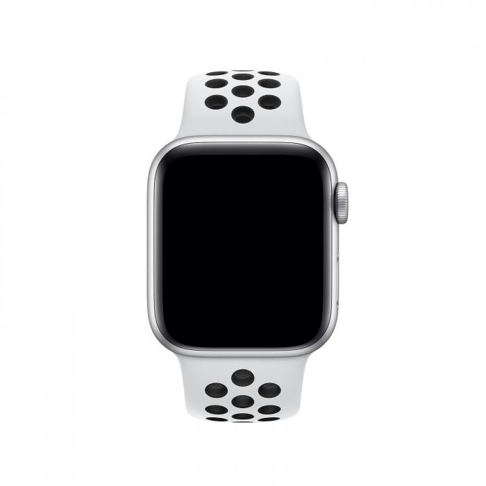 Curea Apple Watch Silicon Sport Alb/Negru cu perforatii 38/40mm [2]