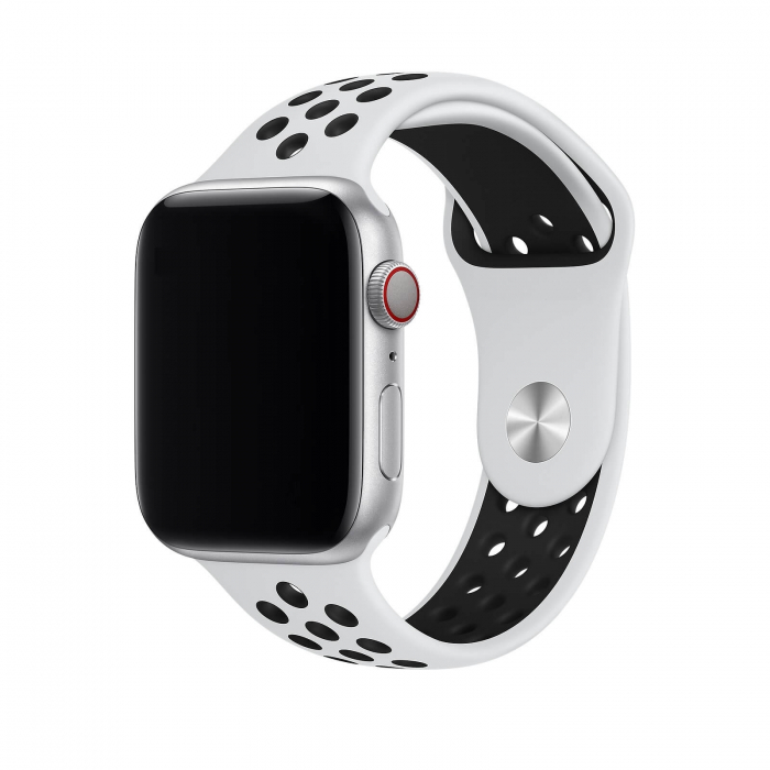 Curea Apple Watch Silicon Sport Alb/Negru cu perforatii 42/44mm [1]