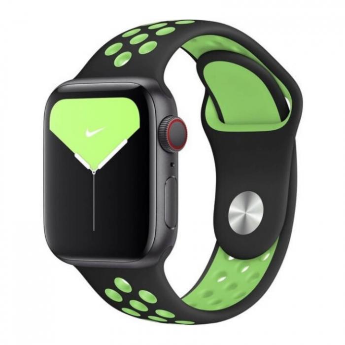 Curea Apple Watch Silicon Sport Negru-Neon cu perforatii 42/44mm [2]