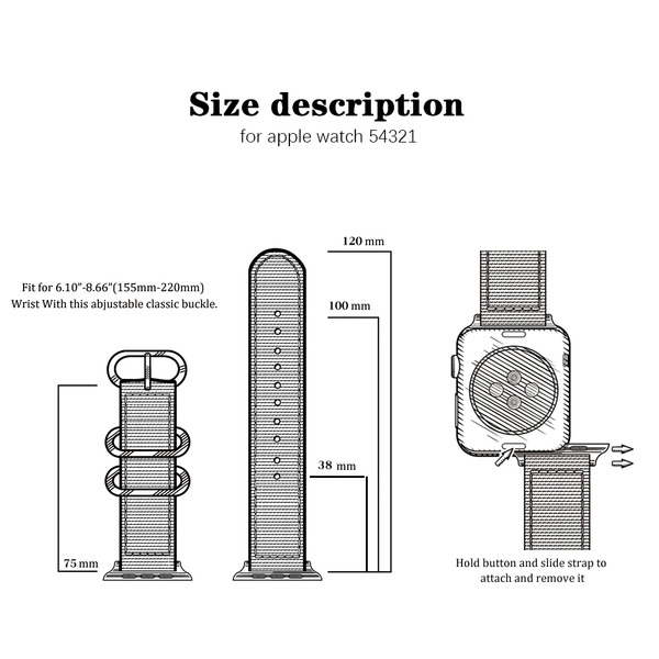 Curea Apple Watch sport nylon neagra 38/40mm [9]