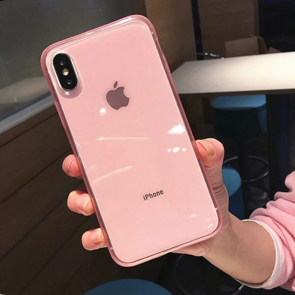 Husa iPhone X/XS transparenta roz [1]