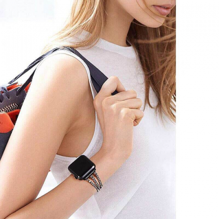 Bratara Apple Watch Metalica Luxury Charms Neagra 38/40mm [4]