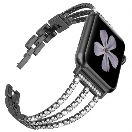 Bratara Apple Watch Metalica Luxury Charms Neagra 38/40mm [0]