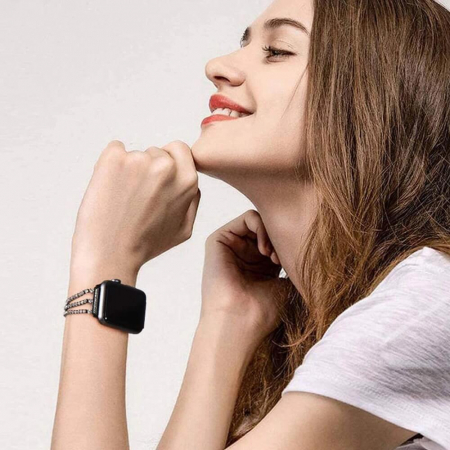 Bratara Apple Watch Metalica Luxury Charms Neagra 38/40mm [2]