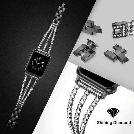 Bratara Apple Watch Metalica Luxury Charms Neagra 38/40mm [1]