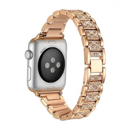 Bratara Apple Watch Metalica Luxury Link Rose Gold 38/40mm [2]