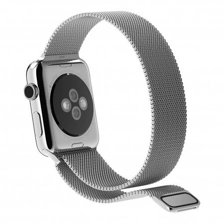 Bratara Curea Apple Watch Magnetica Metalica Milanese Loop argintie 38/40mm [7]