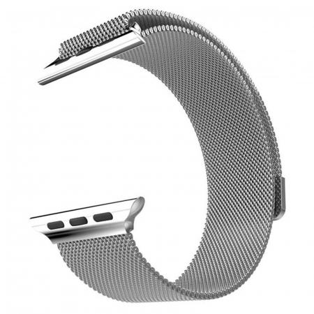 Bratara Curea Apple Watch Magnetica Metalica Milanese Loop argintie 38/40mm [10]