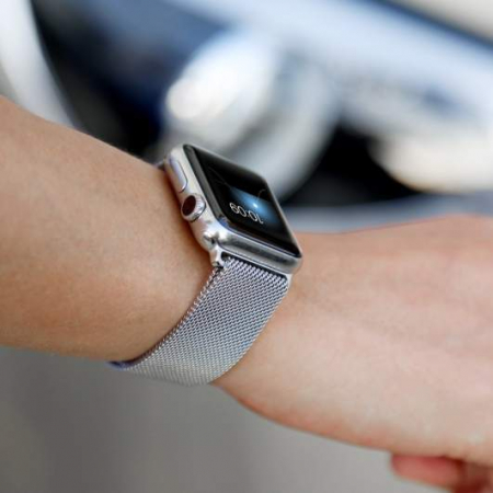 Bratara Curea Apple Watch Metalica Magnetica Milanese Loop argintie 42/44mm [8]