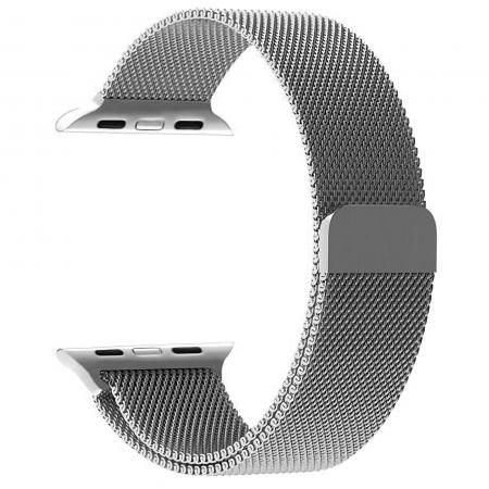 Bratara Apple Watch Milanese Loop argintie 42/44mm, Argintie