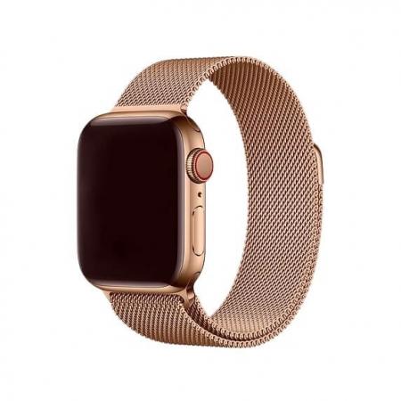 Bratara Apple Watch Milanese Loop Gold Rose cu prindere magnetica 42/44mm [1]