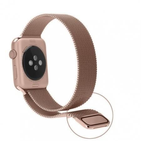 Bratara Apple Watch Metalica Magnetica Milanese Loop Gold Rose / Roz 38/40mm [4]