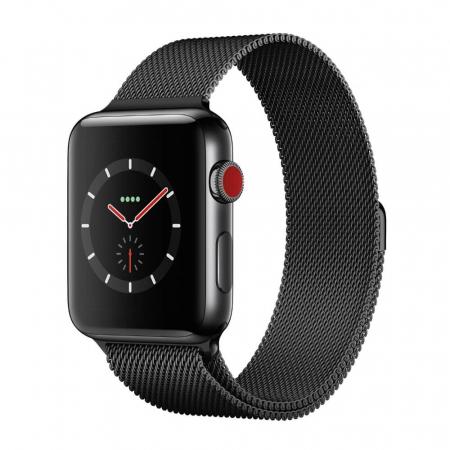 Bratara Curea Apple Watch Metalica Magnetica Milanese Loop neagra 42/44mm [4]