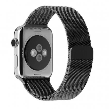Bratara Curea Apple Watch Metalica Magnetica Milanese Loop neagra 42/44mm [7]
