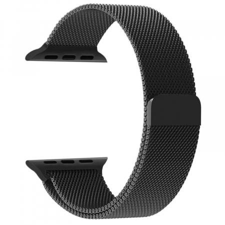 Bratara Curea Apple Watch Metalica Magnetica Milanese Loop neagra 42/44mm [0]