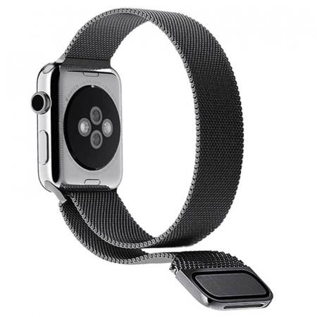 Bratara Curea Apple Watch Metalica Magnetica Milanese Loop neagra 42/44mm [6]