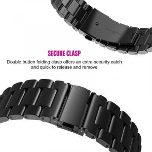 Bratara curea ceas metalica neagra 22mm [6]
