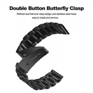 Bratara curea ceas metalica neagra 22mm [3]