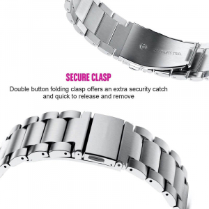 Bratara curea ceas metalica argintie 22mm [6]