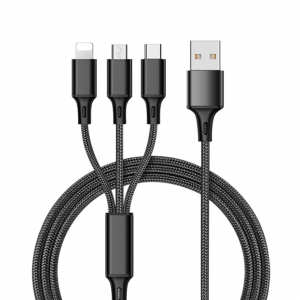 Cablu universal 3 in 1 negru, Negru