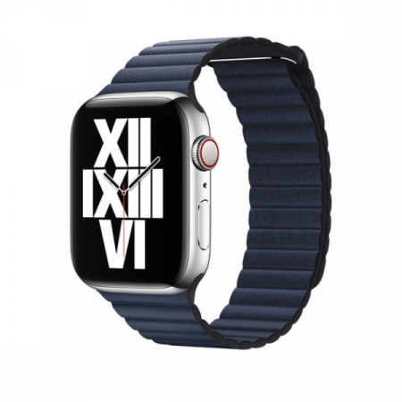 Curea Apple Watch cu prindere magnetica din piele albastra 42/44mm [1]