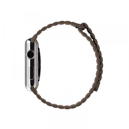 Curea Apple Watch cu prindere magnetica din piele maro 42/44mm [3]