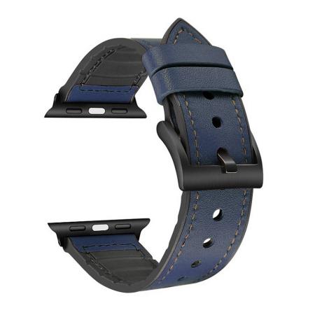 Curea Apple Watch Piele si Silicon Albastra 42/44mm [0]