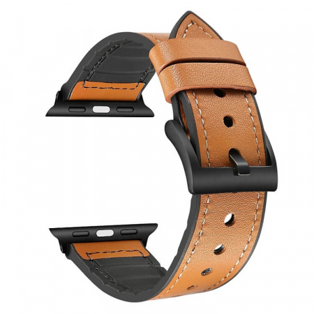 Curea Apple Watch Piele Maro si Silicon 42/44mm [0]