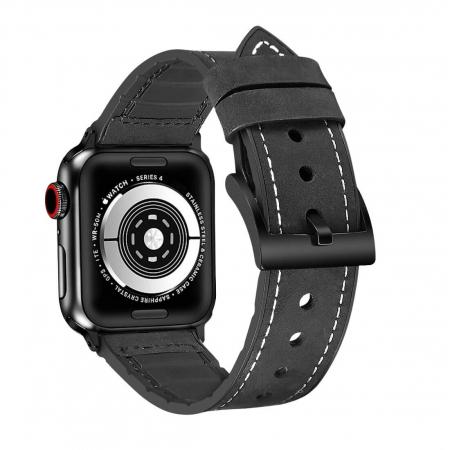 Curea Apple Watch Piele Neagra si Silicon 42/44mm [1]
