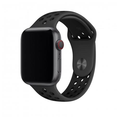 Curea Apple Watch Silicon Sport Neagra cu perforatii 42/44mm [2]