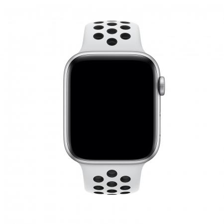 Curea Apple Watch Silicon Sport Alb/Negru cu perforatii 42/44mm [2]