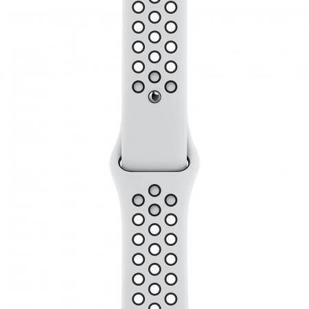 Curea Apple Watch Silicon Sport Alb/Negru cu perforatii 42/44mm [0]