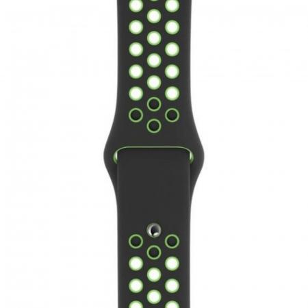 Curea Apple Watch Silicon Sport Negru-Neon cu perforatii 42/44mm [0]