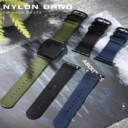 Curea Apple Watch sport nylon verde army 38mm 40mm [6]