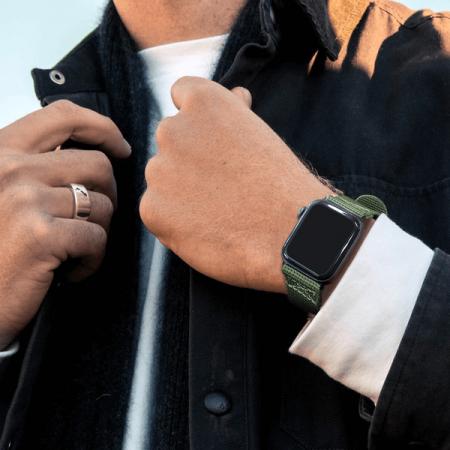 Curea Apple Watch sport nylon verde army 38mm 40mm [3]