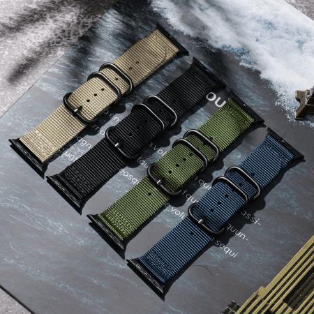 Curea Apple Watch sport nylon verde army 38mm 40mm [7]