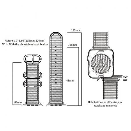 Curea Apple Watch sport nylon verde army 38mm 40mm [10]
