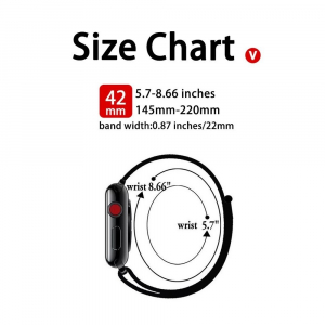 Curea Apple Watch Nylon Albastra Sport Loop Dark Navy Blue 42/44mm [5]