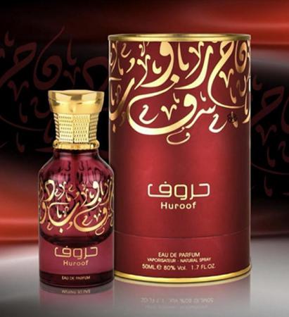 Parfum arabesc Huroof, apa de parfum 50 ml cu mostra 10ml (inclusa in cutie), femei [1]