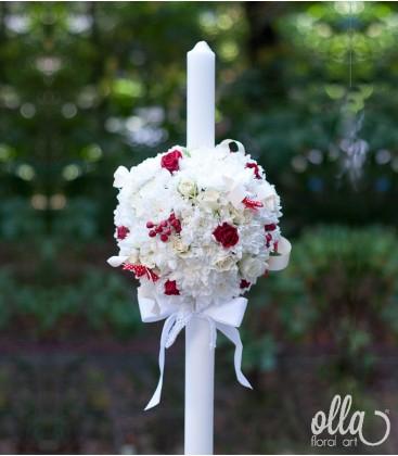 Buburuza Fericita, lumanari de nunta alb cu rosu 0