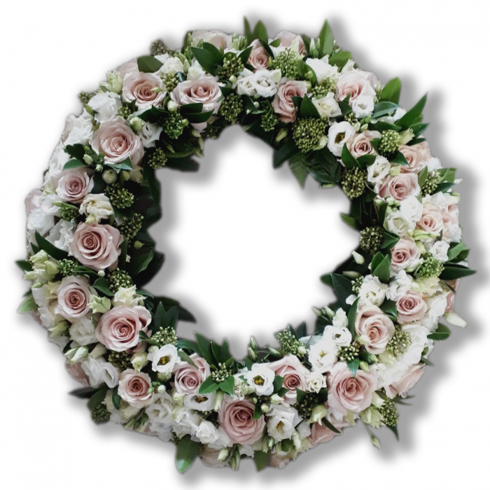 Coroana funerara olla in forma de cerc cu trandafiri roz pal si eustoma alba [0]
