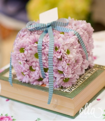 Cutiuta Inflorita, aranjament floral de crizanteme 0