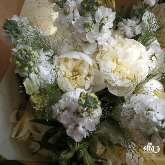 Emotie Pura, buchet de flori Olla, din Bujori albi, Matthiola alba si Alstroemeria alba [0]
